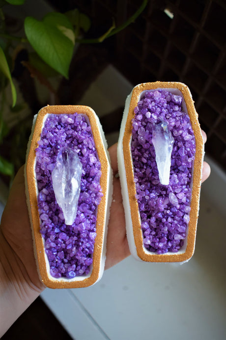 AMETHYST ENERGY COFFIN | CBD BATH BOMB