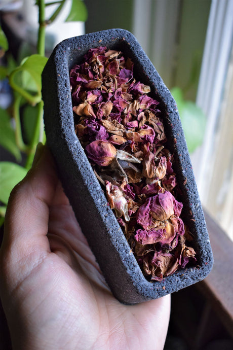 CHARCOAL ROSE COFFIN | CBD BATH BOMB