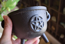 Load image into Gallery viewer, CAST IRON PENTAGRAM CAULDRON WITH LID | WITCH'S CAULDRON