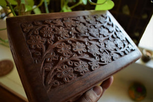 FLORAL CARVED WOODEN TAROT BOX | ALTAR BOX
