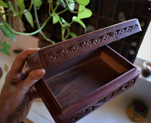 Load image into Gallery viewer, FLORAL CARVED WOODEN TAROT BOX | ALTAR BOX