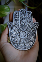 Load image into Gallery viewer, HAND OF COMPASSION INCENSE BURNER | HAMSA HAND METAL BURNER