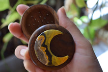 Load image into Gallery viewer, BUMBLE BEE JASPER MOON ADORNED HERB GRINDER | CRYSTAL GRINDER | CRYSTAL MOON