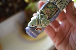 LUNA MOTH CERAMIC PIPE | HAND THROWN | CRYSTAL PIPE