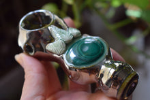 Load image into Gallery viewer, MALACHITE CERAMIC PIPE | METALLIC GLAZE | HAND THROWN | CRYSTAL PIPE