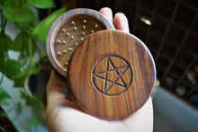 "Load image into Gallery viewer, WITCHES WOODEN HERB GRINDER | PENTAGRAM CARVED 3"" WOODEN GRINDER"