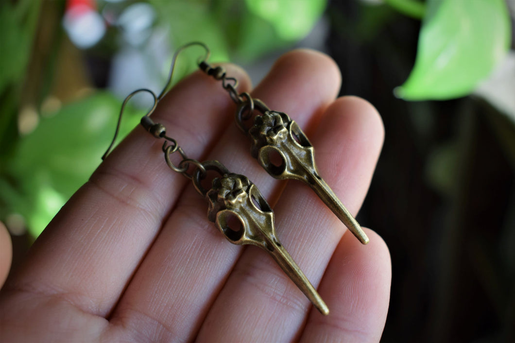RAVEN SKULL EARRINGS | DIVINATION TOOL | WITCHY ADORNMENT
