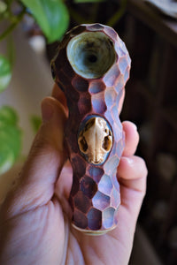 CAT SKULL CERAMIC PIPE | RUST RED GLAZE | HAND THROWN | CRYSTAL PIPE