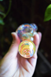 SPECKLED SPOON HAND PIPE | WITH FLOWER AND TRIPLE KNOCKERS