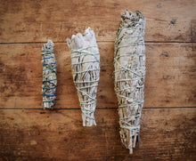 Load image into Gallery viewer, HAND-WRAPPED ORGANIC WHITE SAGE SMOKE WAND | SAGE RITUAL