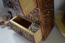Load image into Gallery viewer, TRIPLE CRESCENT MOON WOODEN CHEST | THREE DRAWER CHEST | ALTAR HERB BOX