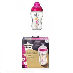رضاعة 340مل مزدوج وردي تومي تيبي  Tommee Tippee Closer to Nature, Easi-Vent Decorative Feeding Bottle 260ml 2 pcs 3m+