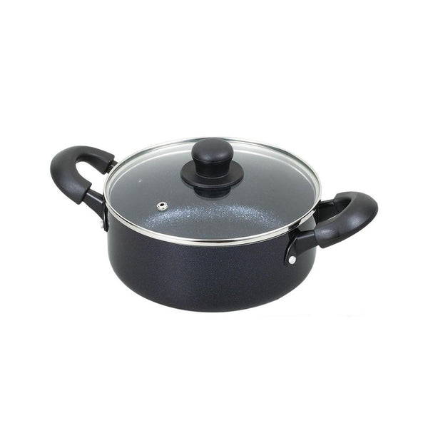 قدر بمقبض مزدوج مع غطاء زجاج ميدنايت ماربل بيرل متل Pearl Metal Midnight Marble Double Handle Pan With Glass Lid