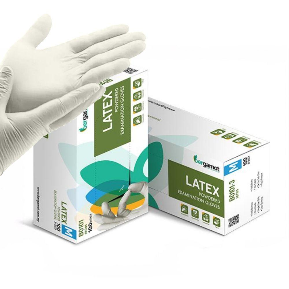كفوف متعددة الاستخدام BERGAMOT Latex Powdered Examination Gloves