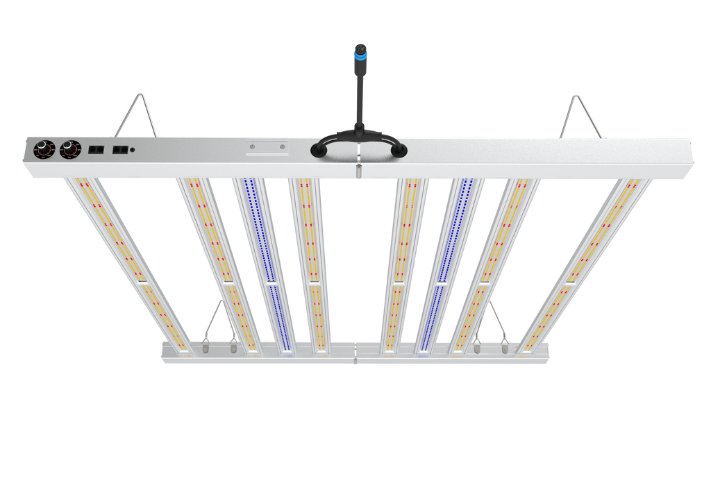 NEW UV Fold Series - 8 Bar Led Grow Light (6 Standard + 2 UV bars) - 700w - with 2 Dimmer Knobs + 2 Sets of RJ Ports - Shipping Early July