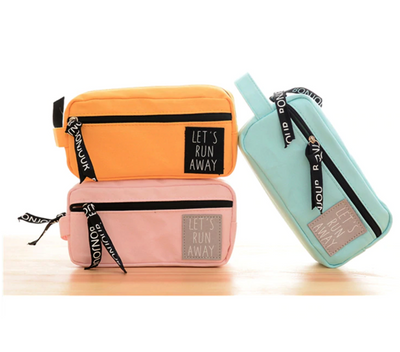 Large Capacity 'Let's Run Away' Pencil Case