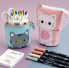 Kawaii Cartoon Cat Canvas Fold Standing Pencil Case