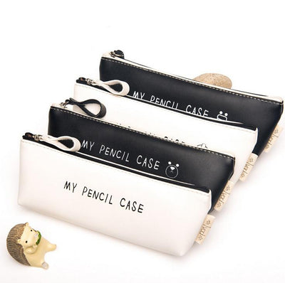 Classic Black and White Leather Pencil Case