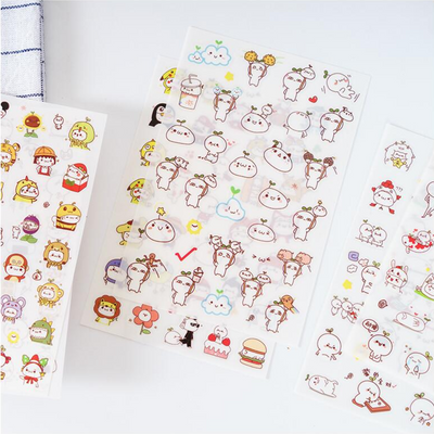 Cute Budding Pop Stickers 6-pack