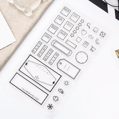 Bullet Journal Frames, Tags & Icons Stamp Set