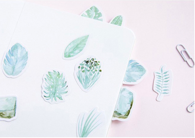 Green Leaves Paper Stickers