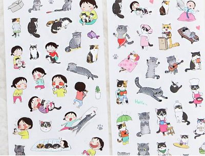 Korean Cat Stickers 6-pack