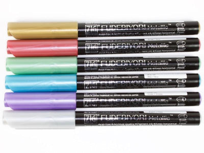 Kuretake ZIG Fudebiyori Metallic Brush Pen - 6 Color Set