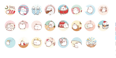 Molang Rabbit Paper Stickers Set