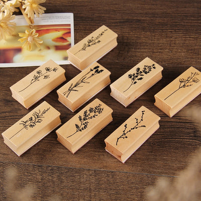 Vintage Plant Wooden Rubber Stamps Set