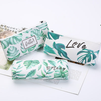 Green Leafs Print Pencil Case School Stationary