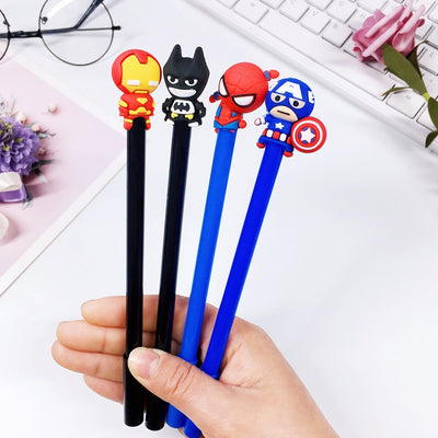 Cute Marvel Characters & Batman Gel Pens (4pcs)
