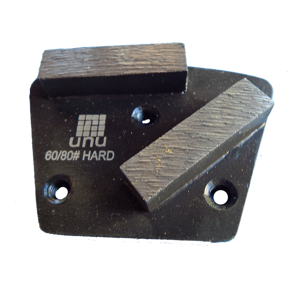 Concrete Surface Prep-60/80 Grit Double Segment Diamond Grinding Shoes: Screw-On - www.unudiamondtooling.com