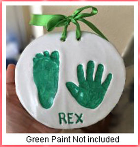 Proud Baby Deluxe Clay Hand Print & Footprint Keepsake Kit - 4 Ribbons - 2 EASELS - Glaze Finish - Letter Stamps - Dries Stone Hard - No Bake - Air Drying (Makes 2 Plaques)