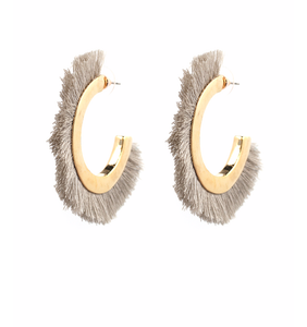 Gold X Grey Fringe Earrings