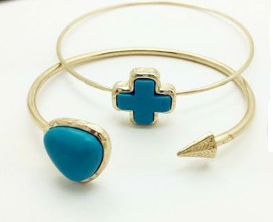 Double Turquoise Cross Heart Cuff Bracelet