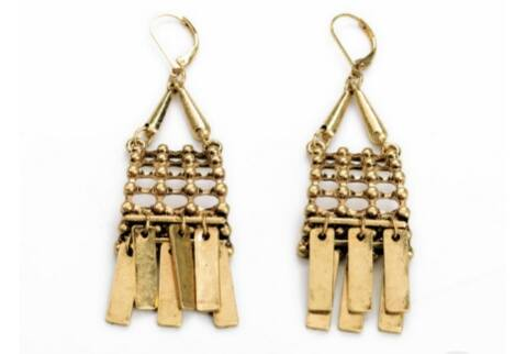 African Tassel Gold Earrings