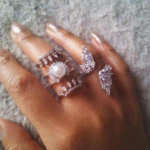 Pearl and Crystal Tower Ring