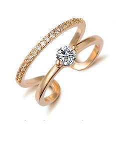 Knuckle Crystal Gold Ring