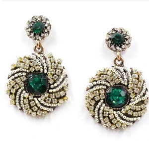 Green Round Drop Earrings