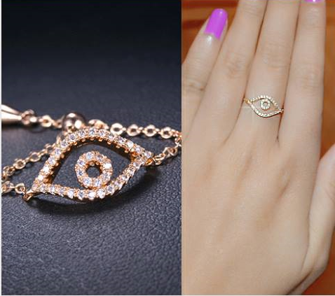 Devil eye  Gold Crystal Ring