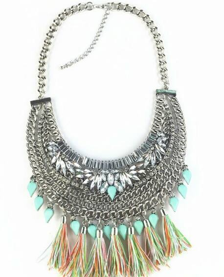 Crystal Flowers Turquoise Tassel Necklace
