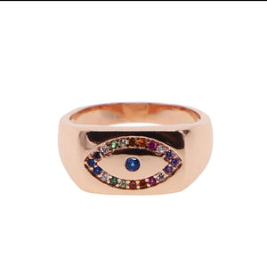 Rainbow Evil Eye Ring