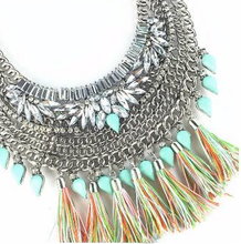 Load image into Gallery viewer, Crystal Flowers Turquoise Tassel Necklace