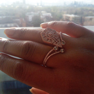 Double Statement Rose Gold Ring