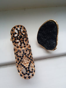 Black X Gold Large Baroque Ring