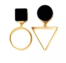 Load image into Gallery viewer, Black X Gold Geometric Earrings