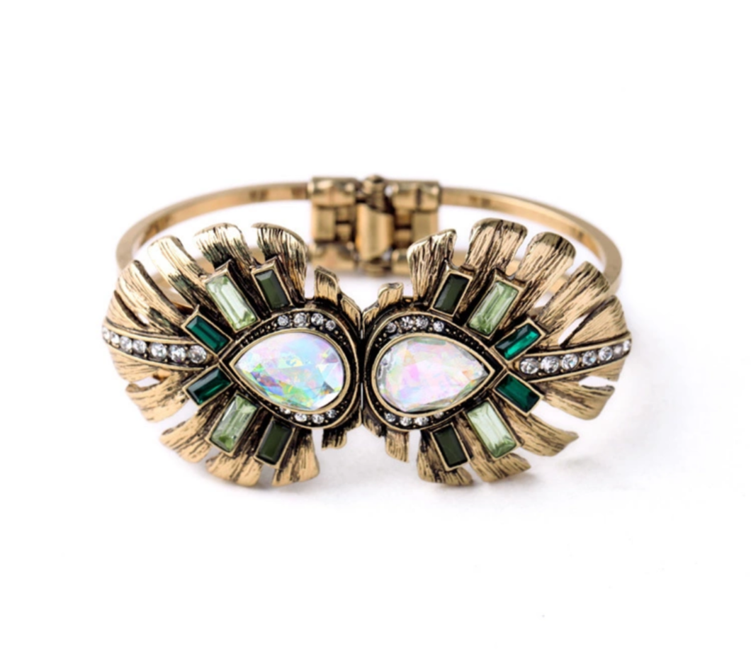 Green Flowers Gold Bangle