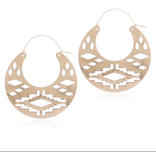 Load image into Gallery viewer, Aztec Creole Earrings