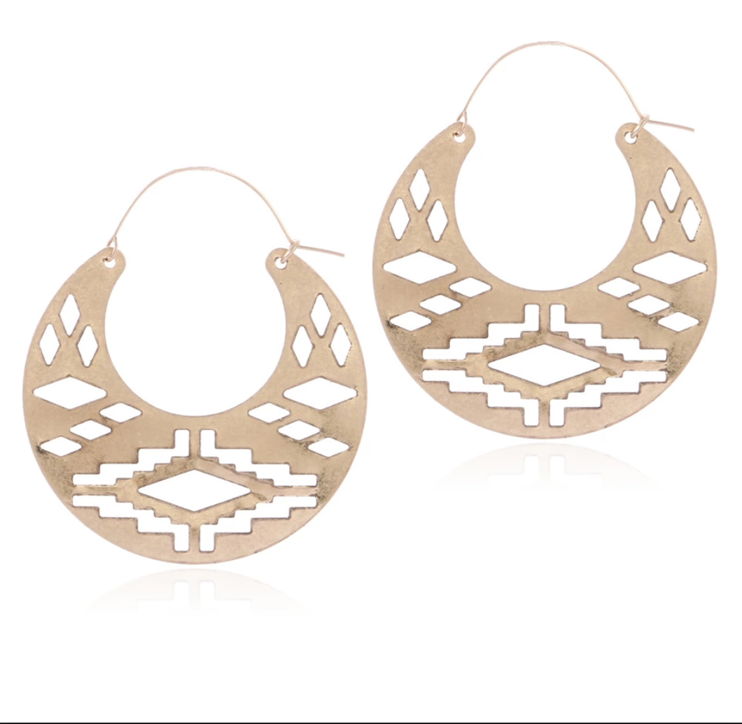 Aztec Creole Earrings