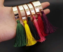 Load image into Gallery viewer, Tassel Golden Bangle Cuff